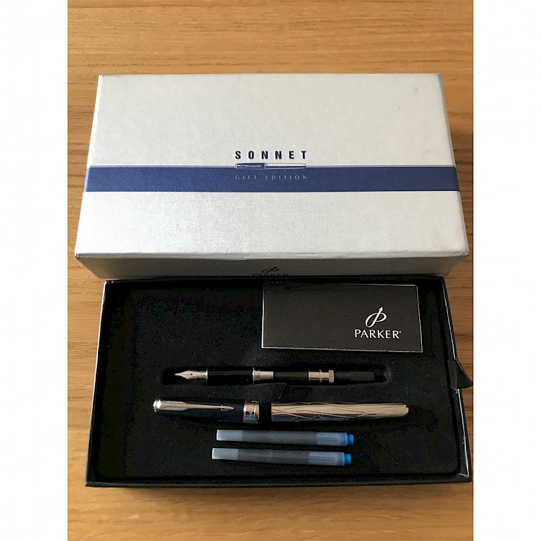 Parker Sonnet, Ice Blue and Silver, Gift Edition