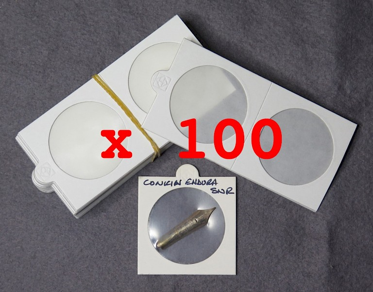 Self-adhesive mounts X 100, 50mm X 50mm to store pen nibs